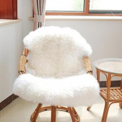 Super Soft Faux Sheepskin Chair Cover Warm Hairy Carpet Seat Pad Fluffy Rugs white 60cm*87cm