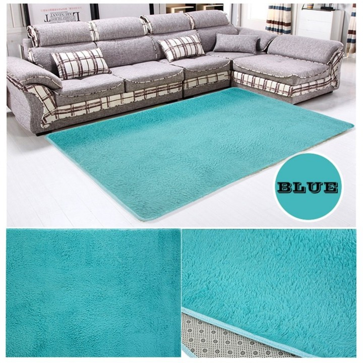 Fiber House Living Room Bedroom Carpet Anti-Skid Shaggy Area Rug Floor Mat blue 80*120cm