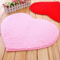 Velvet Fabric Heart Shape Floor Mat Anti-slip Bath Mat For Bathroom Bedroom pink 40*28*1cm