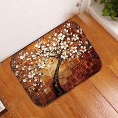 Soft Coral Fleece Tree Anti Slip Bedroom Bathroom Floor Door Carpet Mat Pad