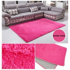 Fluffy Rugs Living Room Carpet Anti-Skid Shaggy Area Rug Floor Mat 80x120cm rose red 80*120cm