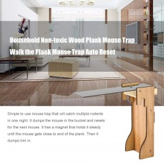 Household Non-toxic Wood Plank Mouse Trap Walk the Plank Mouse Trap Auto Reset