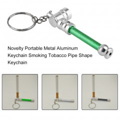 Novelty Portable Metal Aluminum Keychain Smoking Tobacco Pipe Shape Keychain green 7.5*2cm