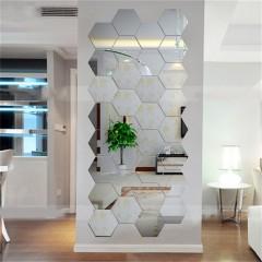 12PCS Hexagonal 3D Mirrors Wall Stickers Home Decor Living Room Mirror Wall Sticker silver 1*1cm
