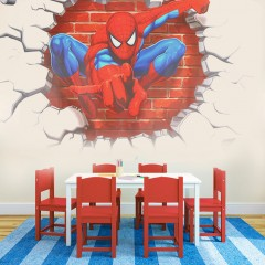 Kids Room Decor Wall Sticker 3D Spider Man Boy Gift Wall Decals Nursery Mural as picture 50*45cm