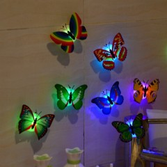 LED Lighting Colorful Butterfly Wall Stickers LED Night Light Home Wall Decor random 7*2.2cm