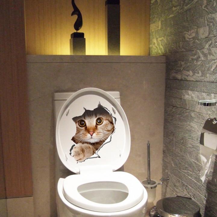 Novelty Cute Kitten Pattern Toilet Stickers Bathroom Wall Home Decorations