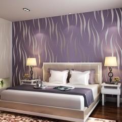 10M Home Improvement High-End Luxury 3D Wave Flocking Wallpaper Rolls New purple 53cm*10m