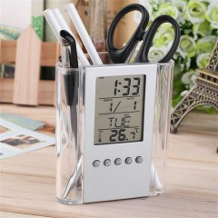 Multi-Functions Desk Pen Holder LCD Display Alarm Clock Thermometer Calendar grey&transparent 1*5*118mm