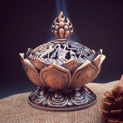 Tibetan Lotus Alloy Bronze Mini Incense Burner Metal Craft Home Decoration bronze 7.8*6.9*6.9cm