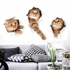 3D Cat Wall Sticker Animal Home Pet Shop Wall Decoration Picture Wall Sticker multi color 4*6cm