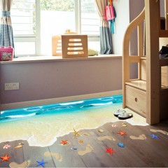 Beach Pattern 3D Flooring Wall Sticker Floor Painting Self-adhesive Removable as picture 6*9mm