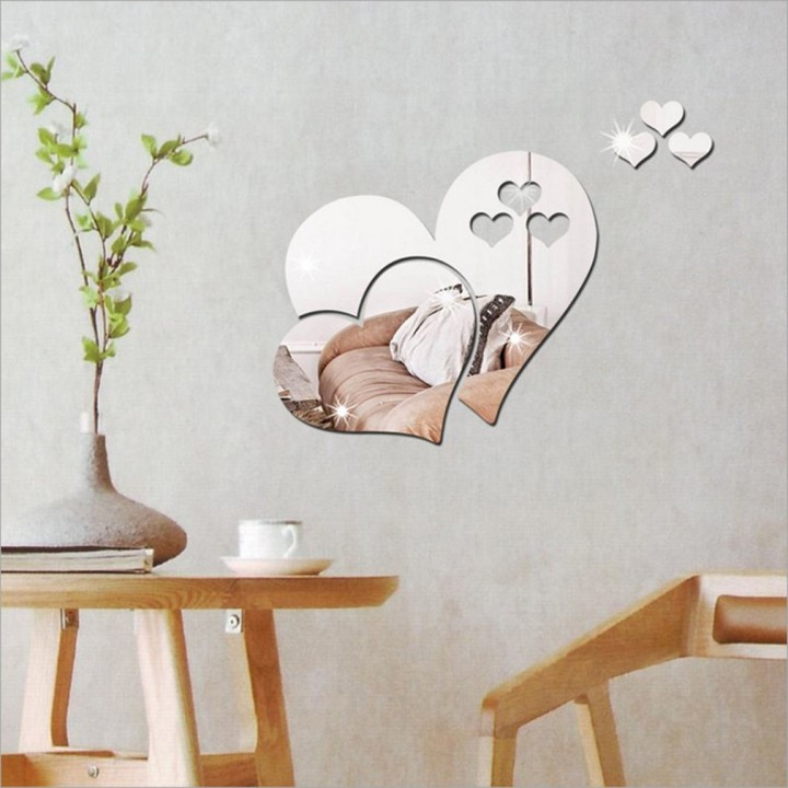 3D Mirror Hearts Wall Sticker Decal DIY Home Removable Decoration Accessory silver 43*27*.1cm