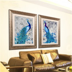 5D Diamonds Plated Embroidery Peacock Painting Home Bedroom Decoration as picture 32*45cm