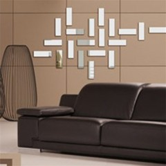 Square Mirror Wall Stickers Stereoscopic Wallpaper Room Decoration Background 18pcs silver one size