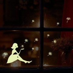 Glow In Dark Wall Sticker Dandelion Luminous Fluorescent Stickers Wall Decals white 24.5cm*21cm(appr.)