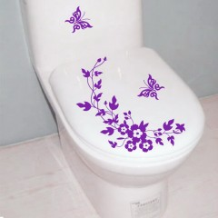 Butterfly Flower Bathroom Toilet Laptop Wall Decals Sticker Home Decoration purple 30*28.5cm