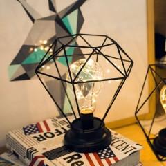Diamond Shape Desk Lamp Battery Powered Bedroom Decoration Tablet Light