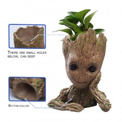 Cartoon Tree Men Shape Desktop Pen Holder Flower Pot DIY Home Office Ornaments