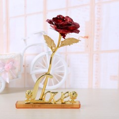 Artificial Flower In Love Display Stand Holder Home Decor Roses Display Base golden 140*82mm