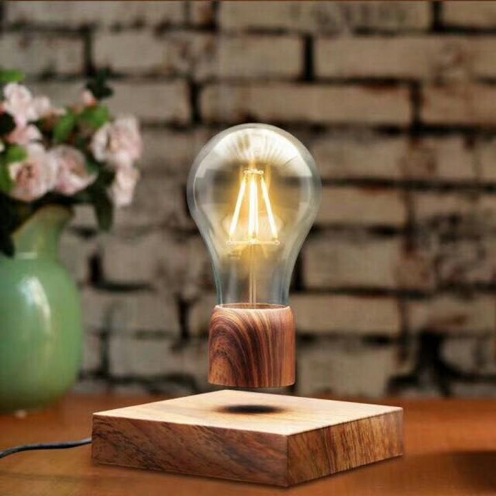 Vintage Magnetic Floating Lighting Bulb Wood Color Base LED Lamp Home Decor