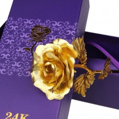 24K Golden Foil Rose Set Artificial Flowers with Bear Valentine's Day Gifts