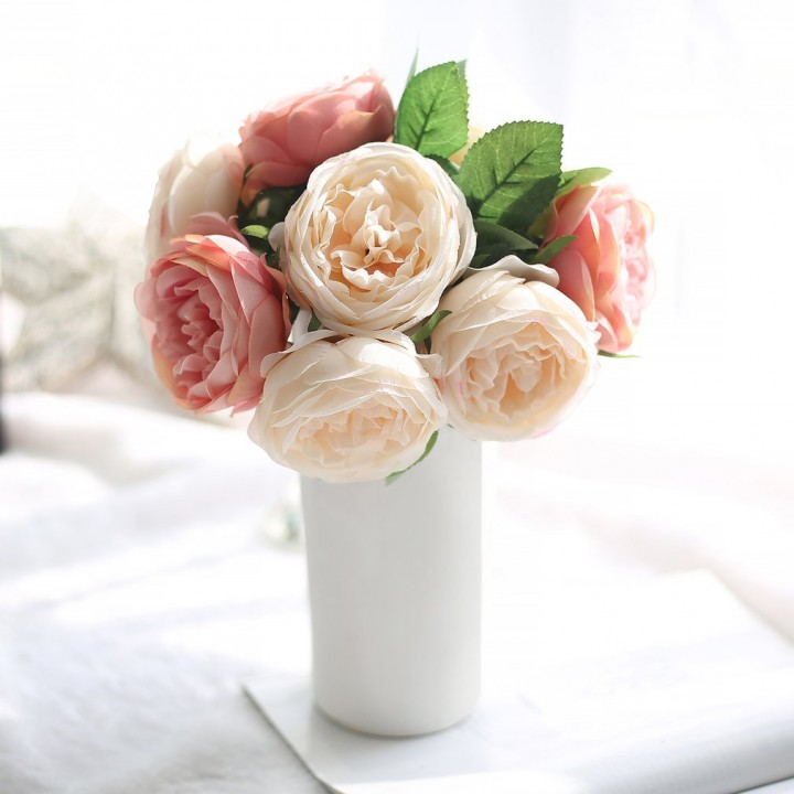 5 Heads Artificial Rose Flowers Wedding Bouquet For Party Home Decoration