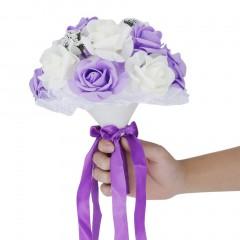 Bride Holding Flower Bouquet Korean Style Simulation Rose Bouquet For Wedding