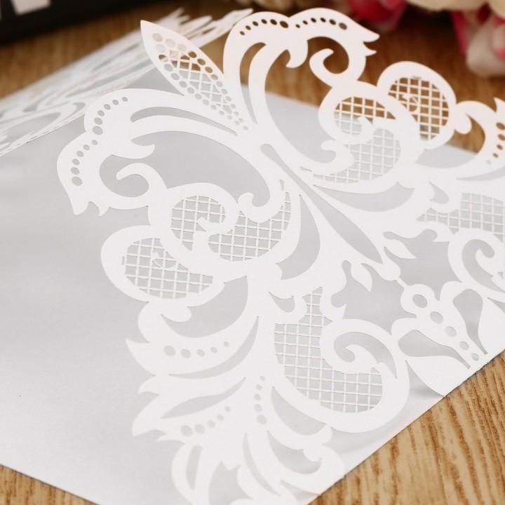 10Pcs Flower Wedding Invitation Cards Envelopes Seals Cover Wedding Decor