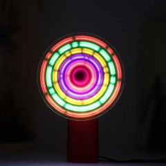 Portable Handheld Cooling Fan Colorful LED Mini Light Battery Power W/Strap
