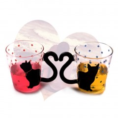 Innovative Cute Cat Kitty Glass Mug Cup Dots Decoration Cup For Home Office
