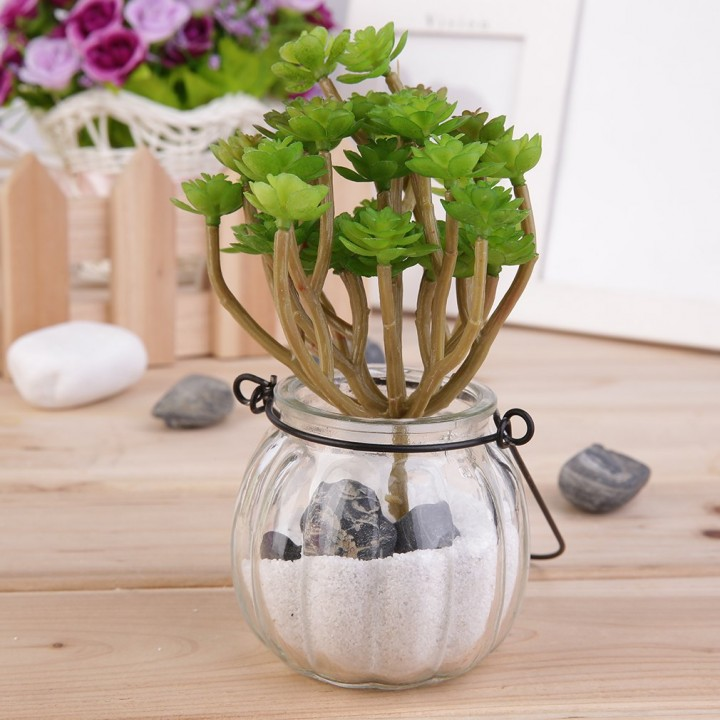 Green Plastic Artificial Faux Mini Succulent Plant Home Wedding Party Decoration