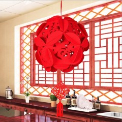 Red Flower Ball Pendant Decoration Hollow Chinese Pendant Shop Home Decoration