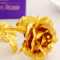 24K Golden Foil Rose Set Artificial Flowers Rose Bouquet with LOVE Base Gifts