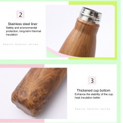 500ML Wood Grain Vacuum Flask Cold Water Stainless Steel Double Wall Bottle Cup