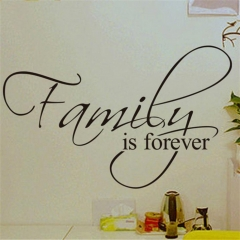 Family is Forever Removable Art Vinyl Wall Stickers Decal Mural Home Decor black 45 x 26cm