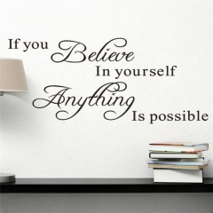 If you believe in yourself Quote Removable Vinyl Decal Art Mural Wall Stickers black 45*12.5cm (L*W) (Approx)