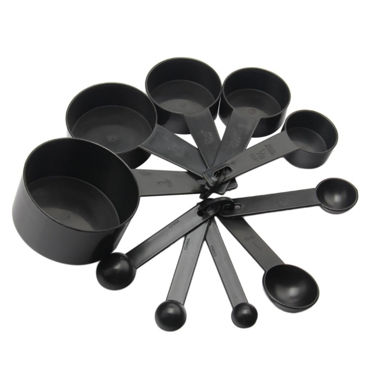10pcs/set Plastic Measuring Cups Measuring Scoop Kitchen Measurement Tool black See page for details