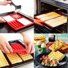 Safety 4-Cavity Waffles Cake Chocolate Pan Silicone Mold Baking Mould Kitchen red Length: 285 mm,Width: 185 mm