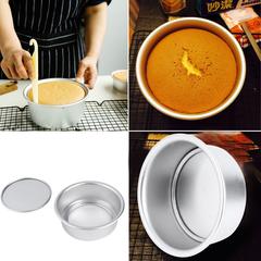Silver 4 Aluminum Alloy Non-stick Round Cake Bake Mould Pan Kitchen Tool Silver 11.5x11.5x4.5cm