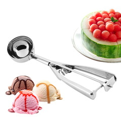 Ice Cream Spoon Stainless Steel Spring Handle Masher Cookie Scoop silver 4cm