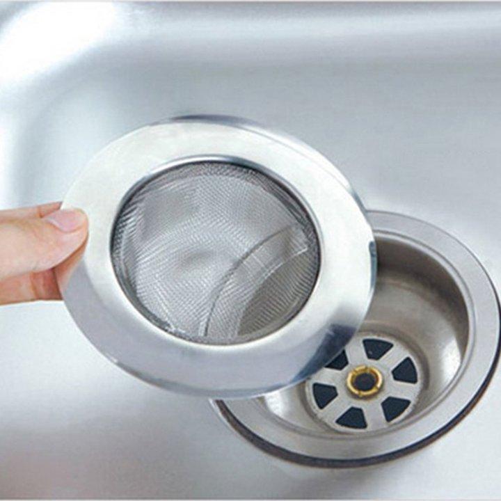 1pc Steel Kitchen Sewer Sink Strainer Filter Plug Barbed Wire Waste Clean silver one size