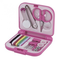 Portable Travel Sewing Kits Box Needle Threads Scissor Thimble Home Tools pink 7*6.5*2cm