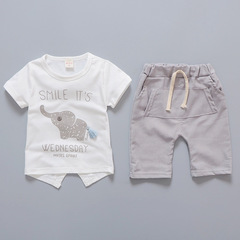 Baby Boy Girl  Elephant Short Sleeved T-shirts Tops Striped Pants Kids Set For Children 1-4 Y gray S-80cm
