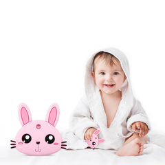 Child Safety Soft Silicone Chew Teethers Infant Teething Cartoon Bunny Car Molar Rod Baby Toys pink One size