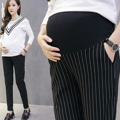 Summer and autumn striped maternity pants XL stretch waist pencil pants pregnant women pants black M