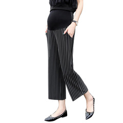 Vertical striped pregnant women pants pregnant women nine straight wide leg pants clothing black M