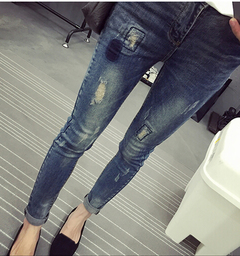 Elastic waist elastic denim pregnant women belly jeans autumn and winter pants pencil trousers blue M