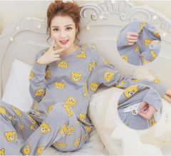 Cotton pregnant women pajamas pregnant women suit long-sleeved shirt and pants cartoon bear pajamas gray M