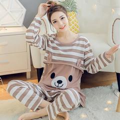 Autumn pregnant women pajamas feeding suit maternity dress large size striped clothes suit brown M